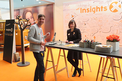 Nicole Lipfert, Senior Project Manager for Insights-X, at the Insights-X booth during Spielwarenmesse